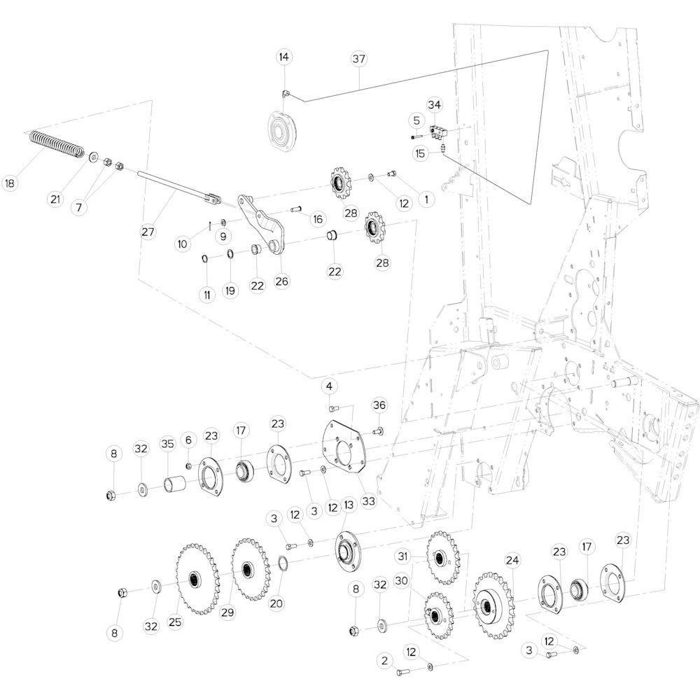 18 Aandrijfketting rechts passend voor KUHN VB2285
