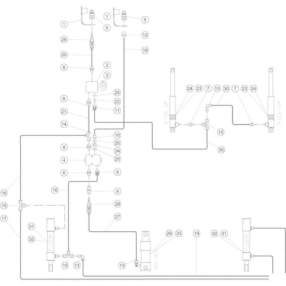 61 Hydraulisch 14-Oc passend voor KUHN VB 2290