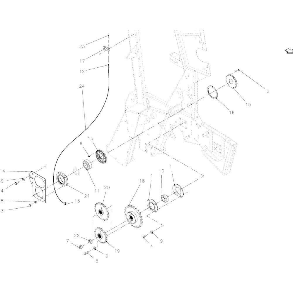 17 Aandrijfketting rechts passend voor KUHN VB 2290