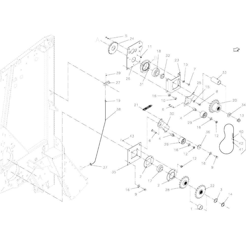 19 Aandrijfketting links passend voor KUHN VB 2290