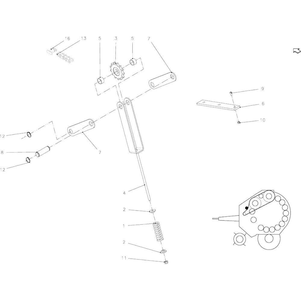 04 Spanner hoofdaandrijfketting passend voor KUHN FB119