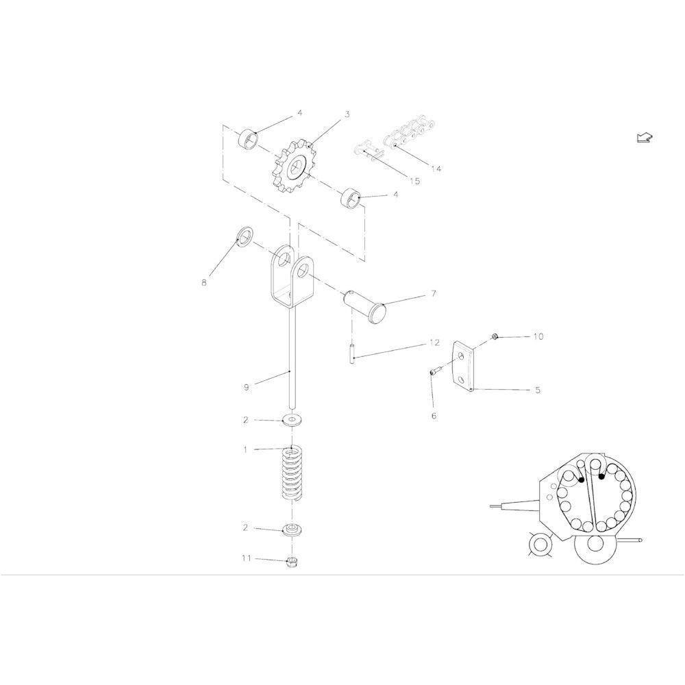 05 Spanner rol ketting voorzijde passend voor KUHN FB119