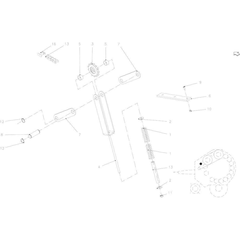 04 Kettingspanner aandrijving passend voor KUHN FB119