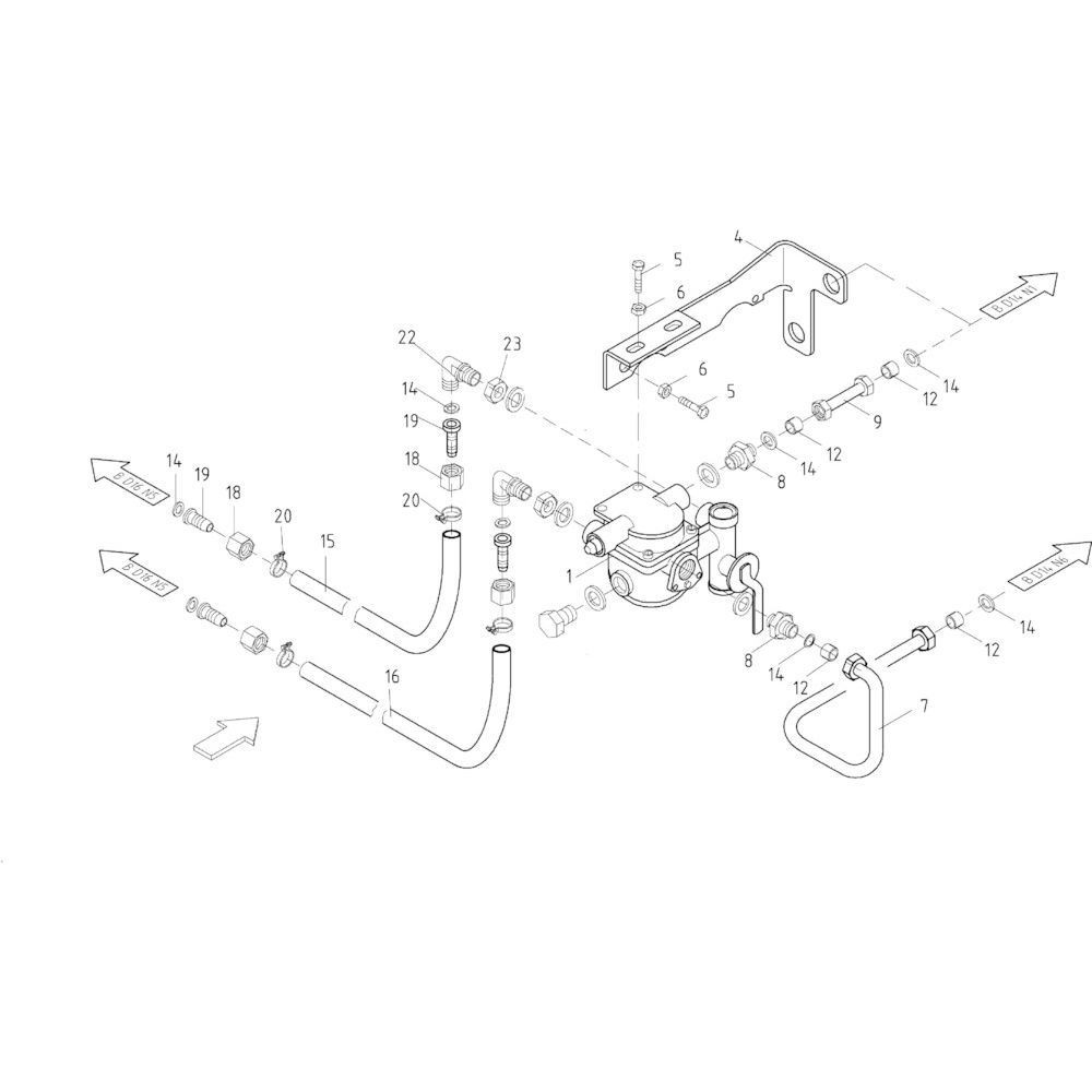 13 Luchtrem, enkele as passend voor KUHN FB2121