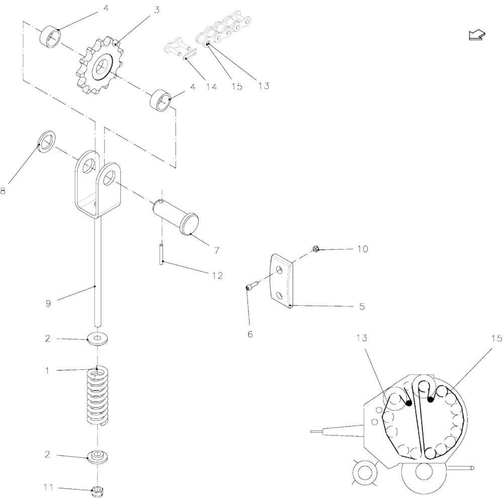 26 Spanner hoofdaandrijfketting passend voor KUHN FB2130