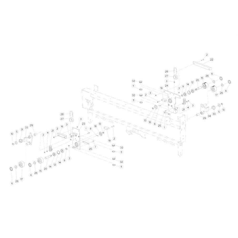43 Touwbindsysteem glijplaat passend voor KUHN FB2130