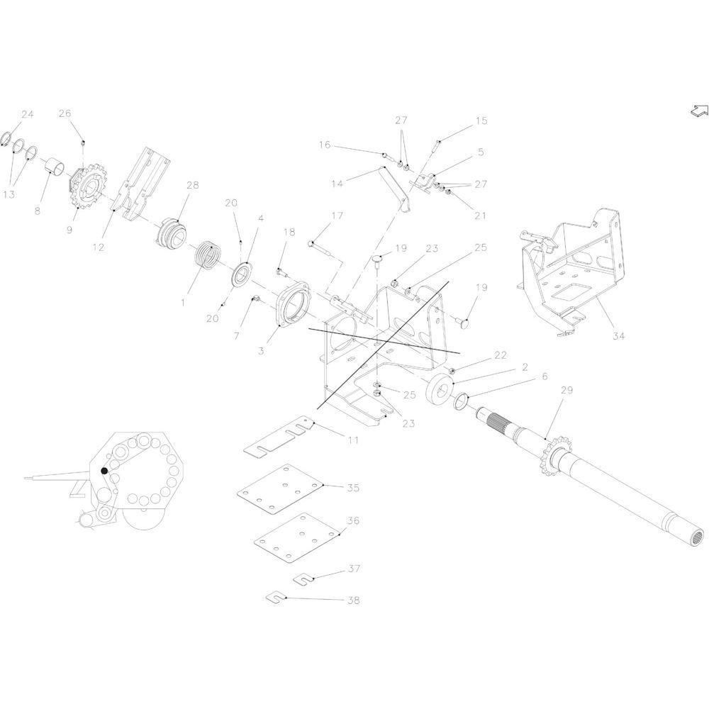 03 Aandrijfas passend voor KUHN FB2130