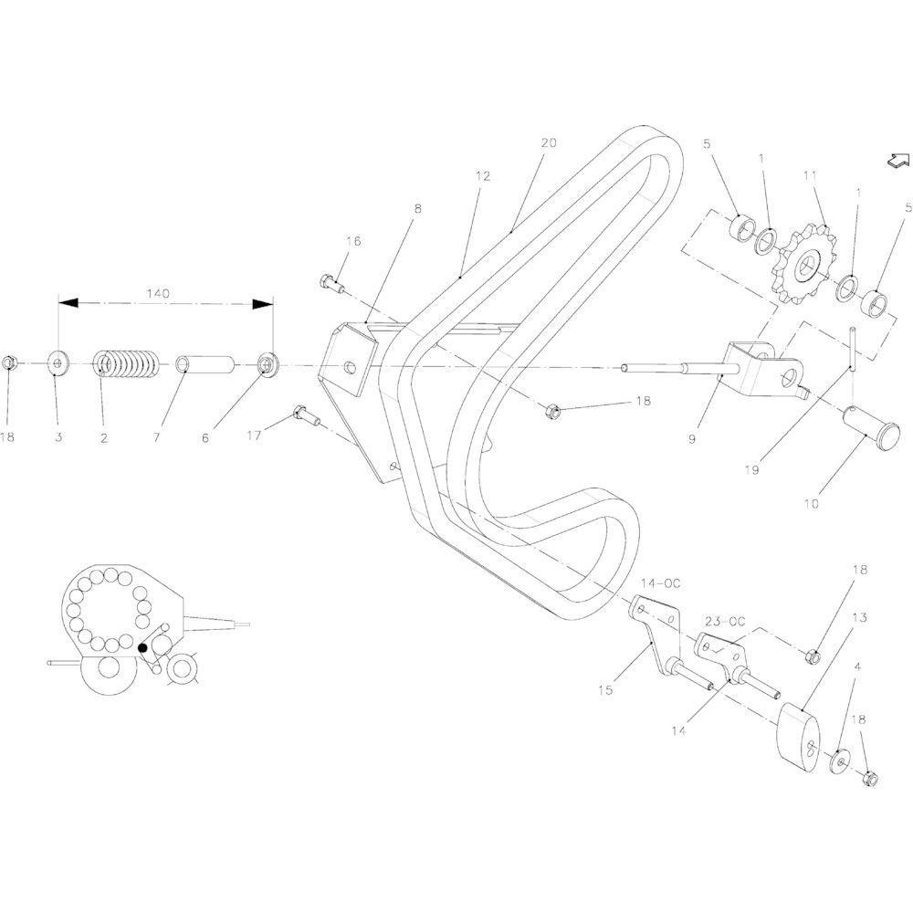 44 Spanner, ketting passend voor KUHN FB2135