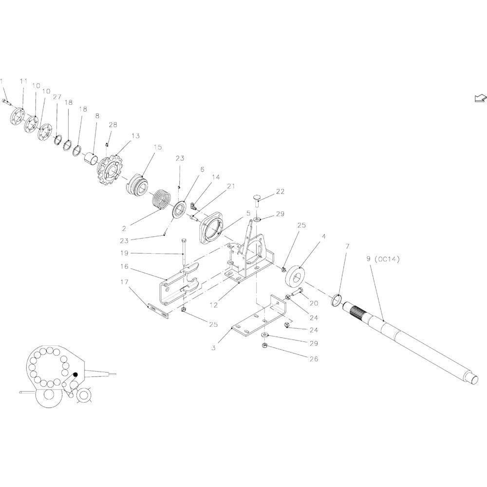 38 Aandrijfas passend voor KUHN FB2135
