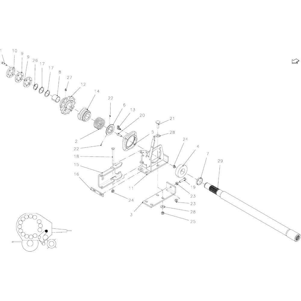 94 Aandrijfas R+14-Oc+23-Oc passend voor KUHN FB2135