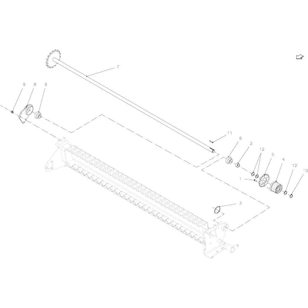 31 Aandrijfas 14-Oc passend voor KUHN FB2135