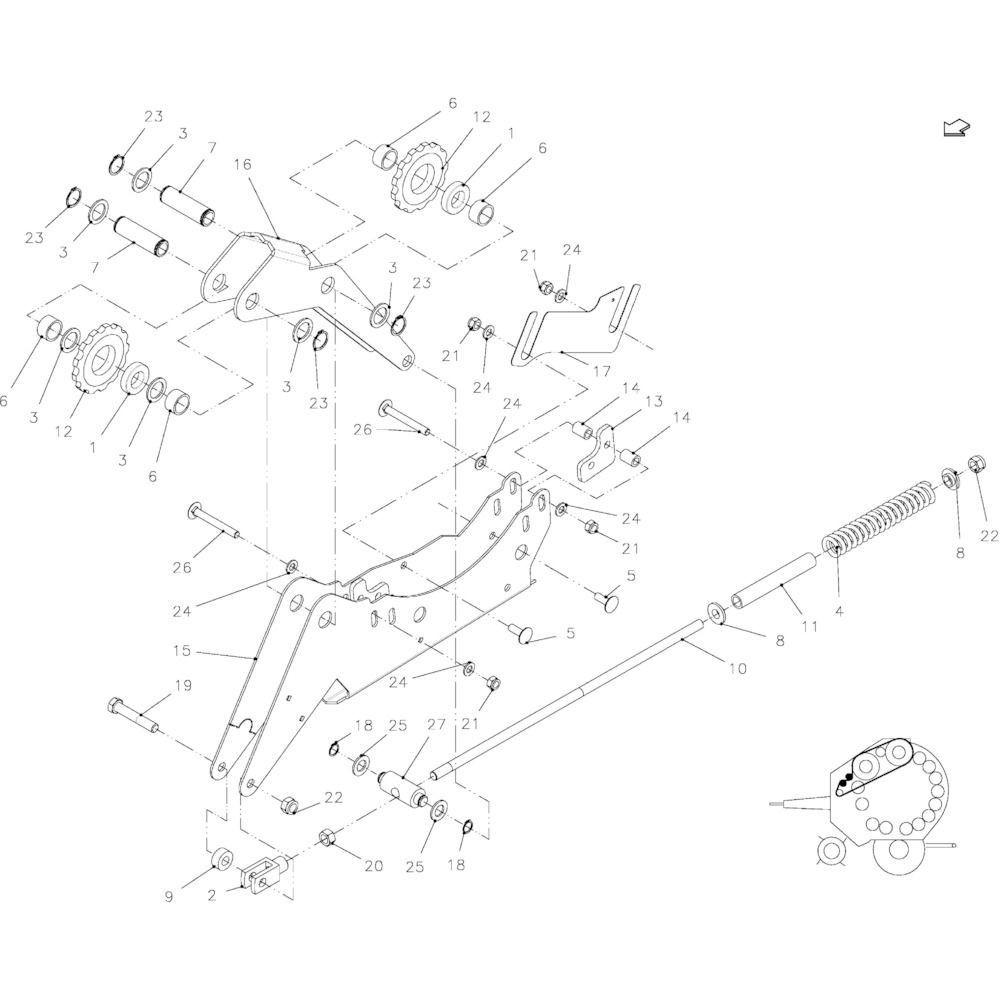 27 Spanner, ketting passend voor KUHN FB2135