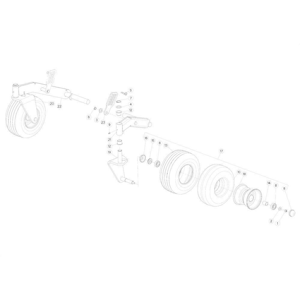 24 Wiel scharnierende opraper passend voor KUHN FB3135
