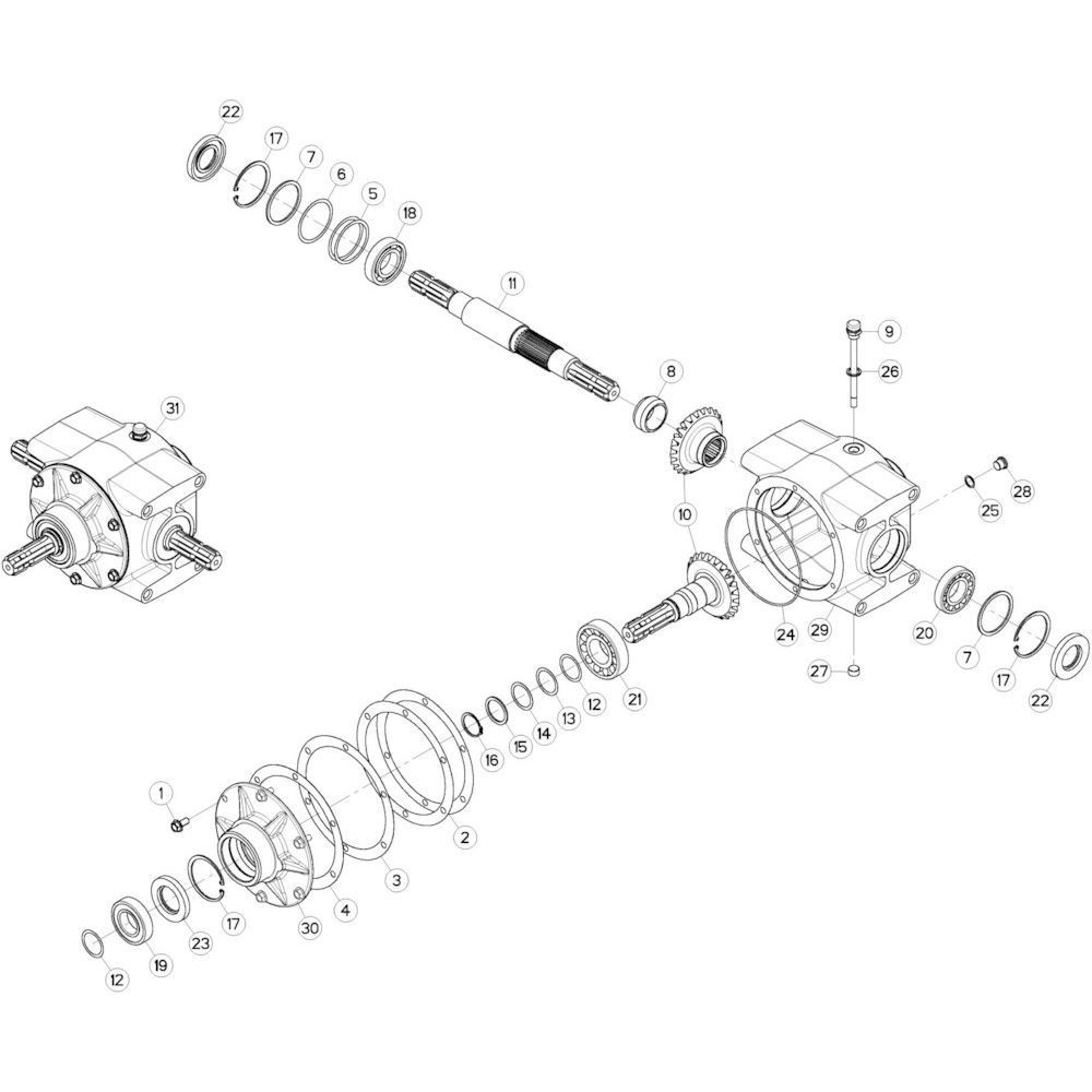02 Centrale tandwielkast 1000 omw/min passend voor KUHN GMD280F