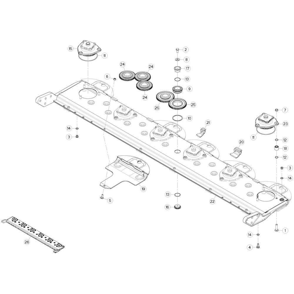 06 Maaibalk tandwielkast 1 passend voor KUHN GMD280F