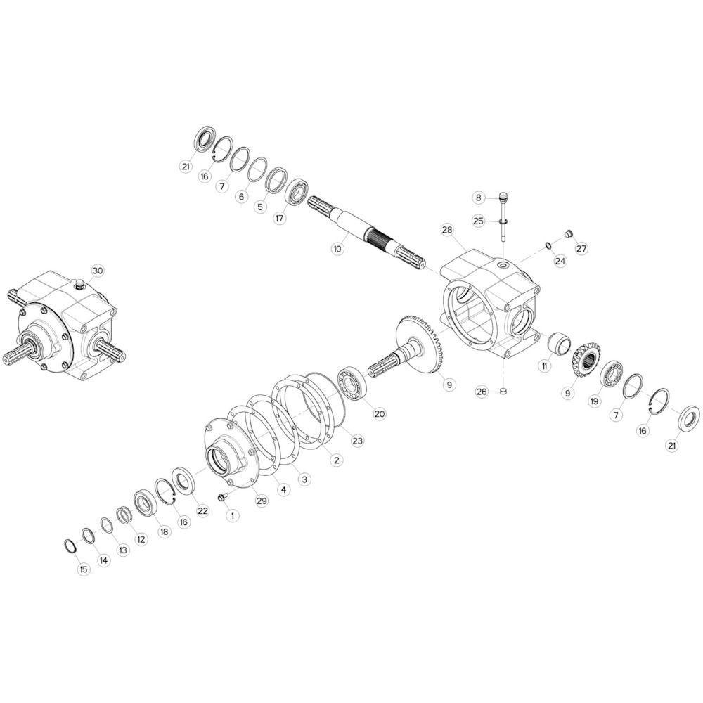 03 Centrale tandwielkast 540 omw/min 1 passend voor KUHN GMD280F