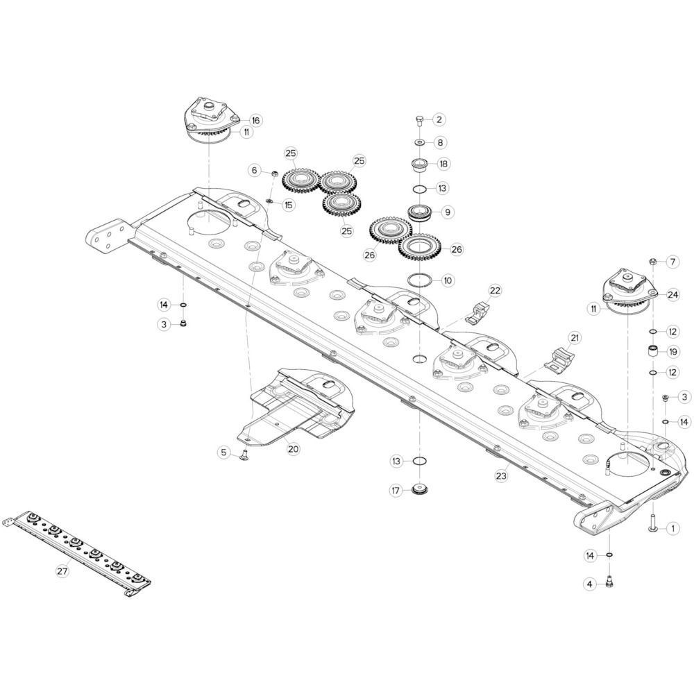 04 Maaibalk, tandwielkast passend voor KUHN GMD280F