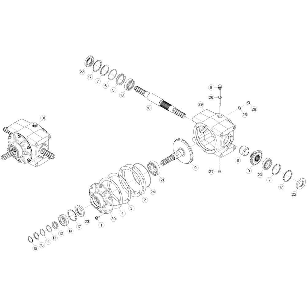 02 Centrale tandwielkast 540 omw/min passend voor KUHN GMD280F