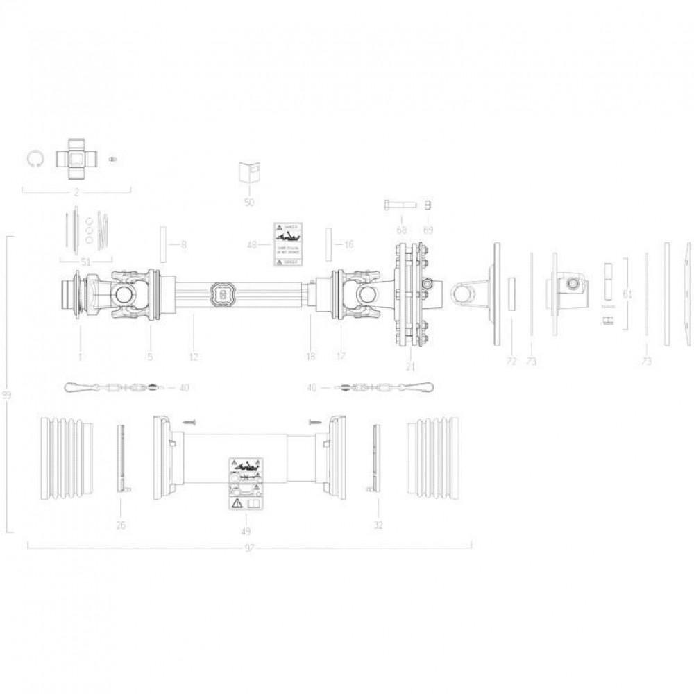 21 Aftakas passend voor KUHN GMD310F