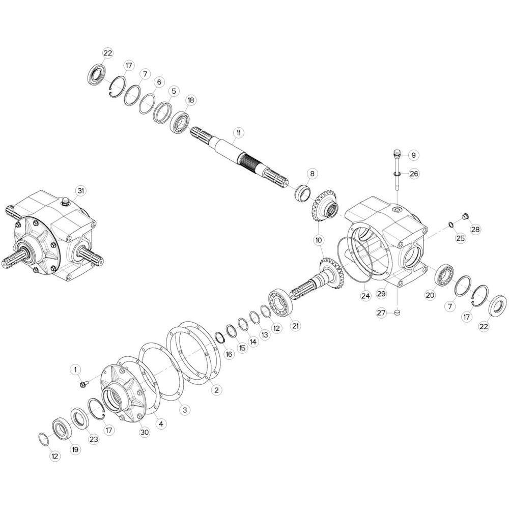 04 Centrale tandwielkast 1000 omw/min 2 passend voor KUHN GMD3120F