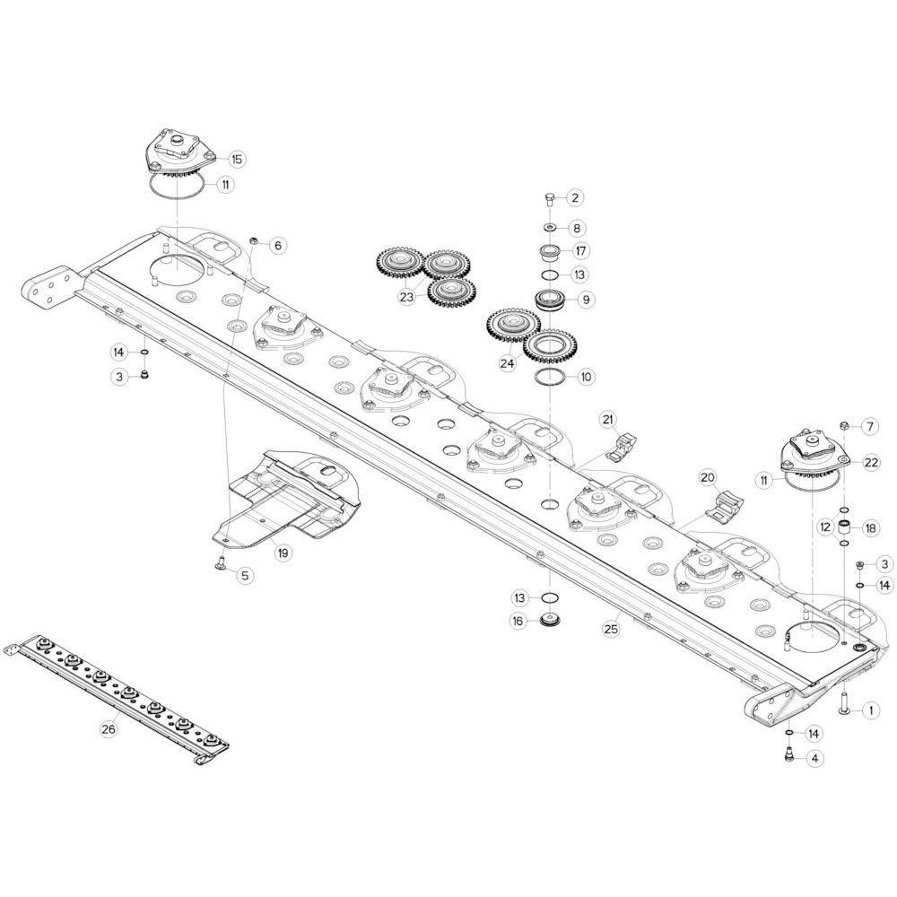 04 Maaibalk, tandwielkast passend voor KUHN GMD3120F