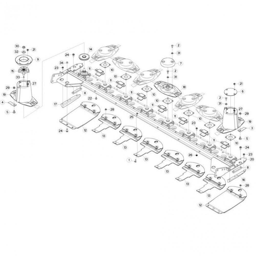 15 Schijven, beschermingen en glijplaten passend voor KUHN FC313TG