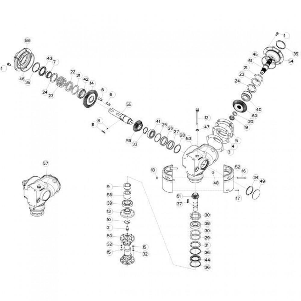 12 Maaibalk, tandwielkast, rechts passend voor KUHN FC313TG-FF