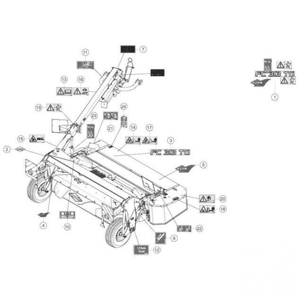 25 Set stickers passend voor KUHN FC313TG-FF
