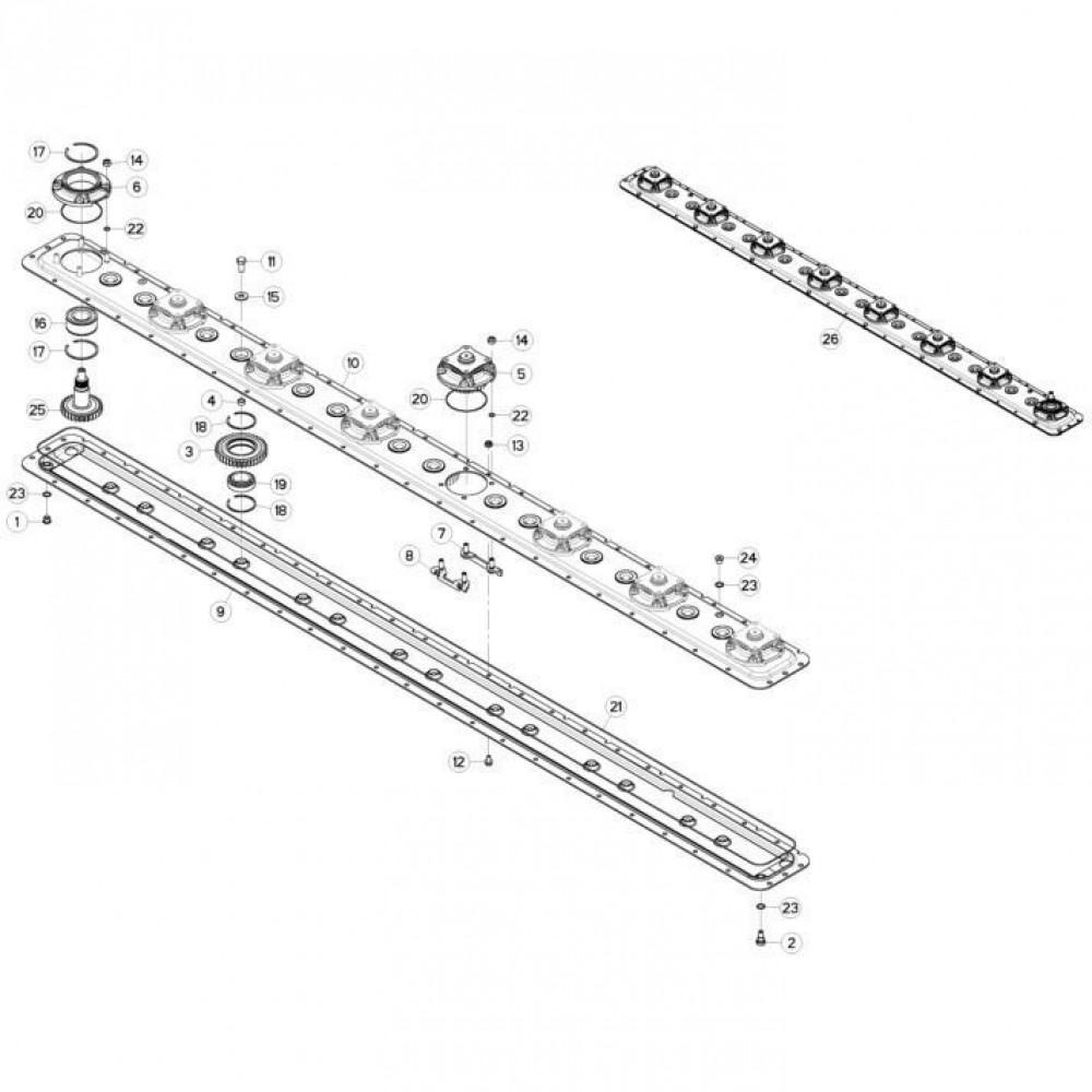 13 Maaibalk, tandwielkast, rechts passend voor KUHN FC313TG-FF 2