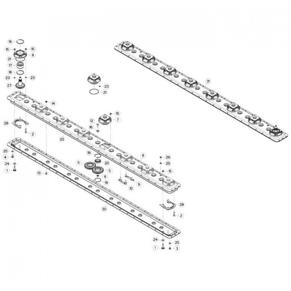 14 Maaibalk, tandwielkast passend voor KUHN FC313TG-FF 2