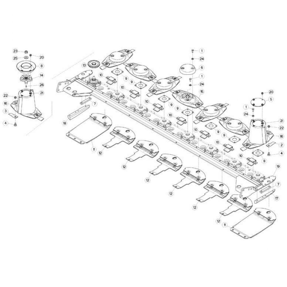 14 Schijven, beschermingen en glijplaten 1 passend voor KUHN FC313TG-FFRA