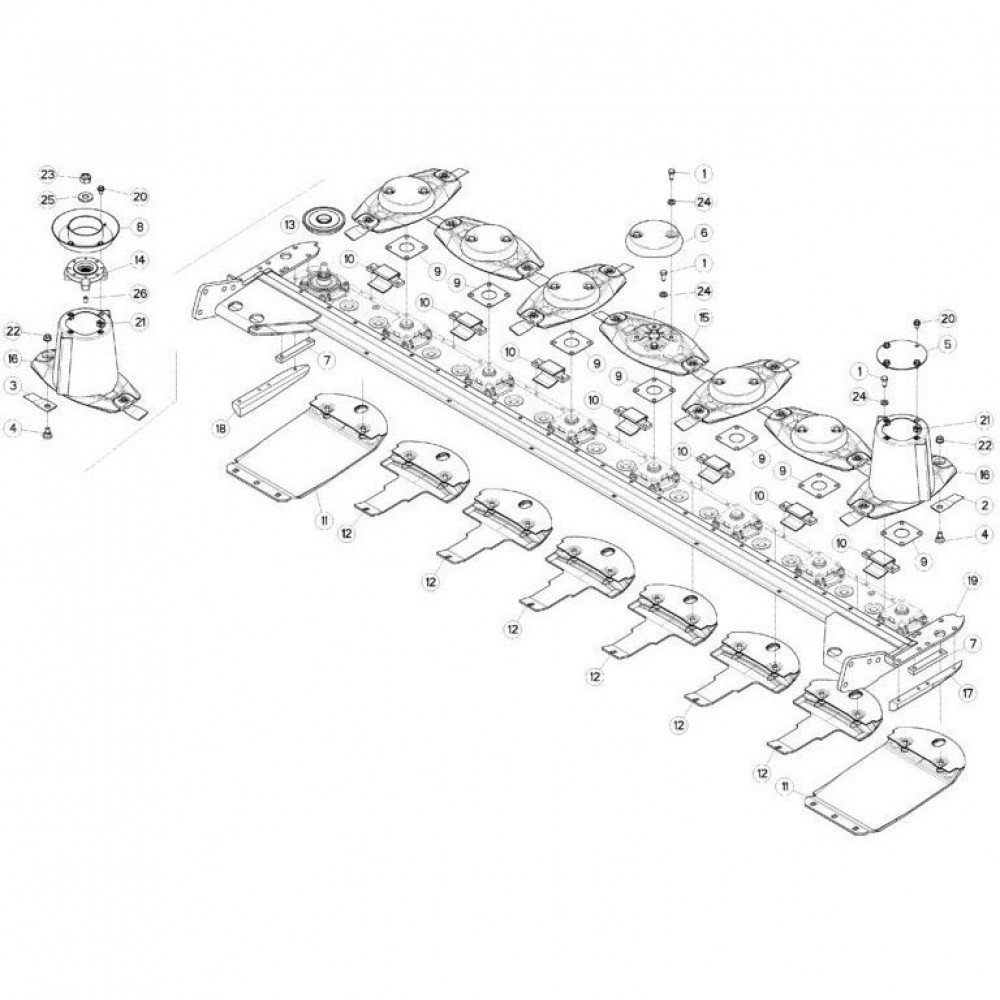 13 Schijven, beschermingen en glijplaten passend voor KUHN FC313TGRA