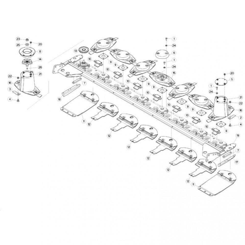 14 Schijven, beschermingen en glijplaten passend voor KUHN FC313TGRA
