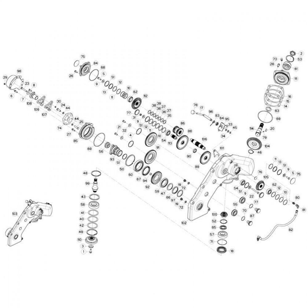 12 Tandwielkast, zijkant passend voor KUHN FC3160TLD