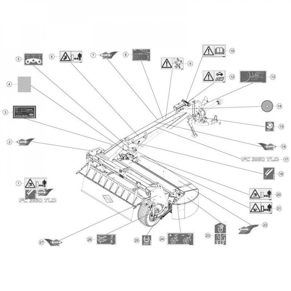 25 Set stickers passend voor KUHN FC3160TLD