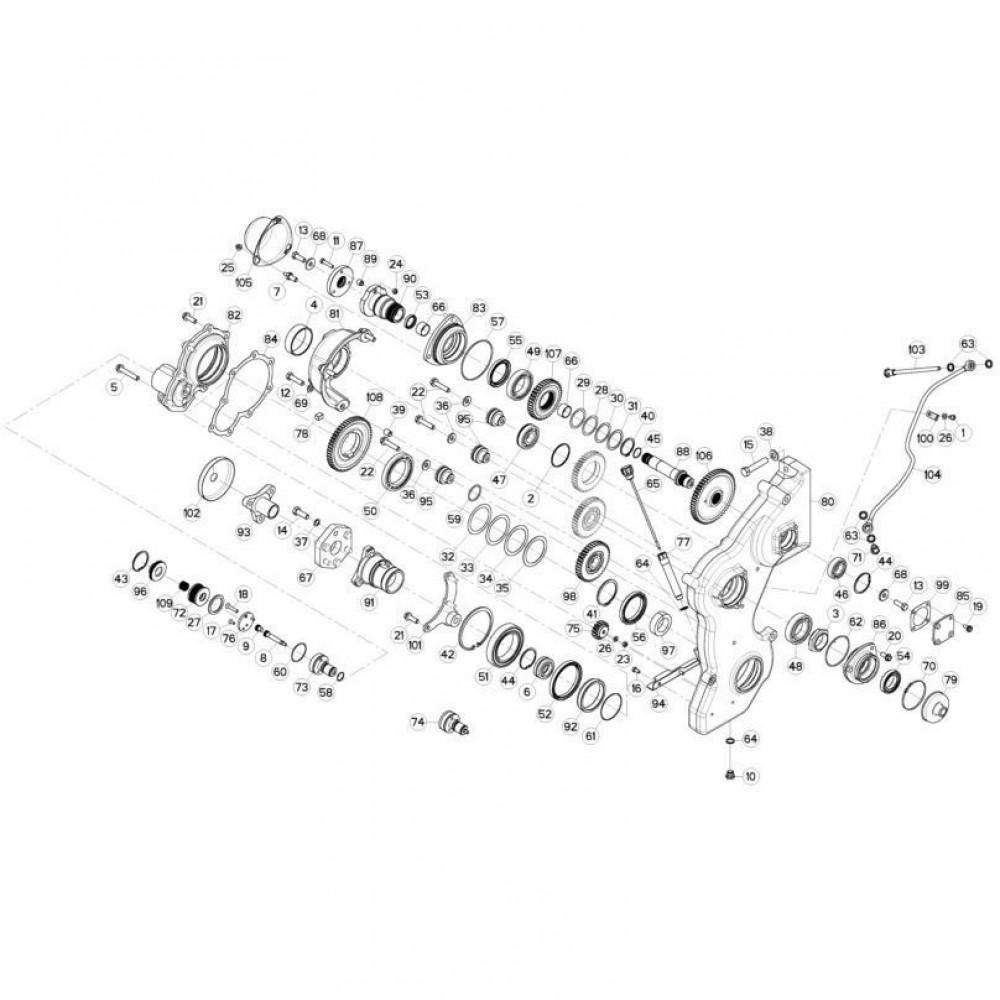 13 Tandwielkast, zijkant 3 passend voor KUHN FC3160TLR