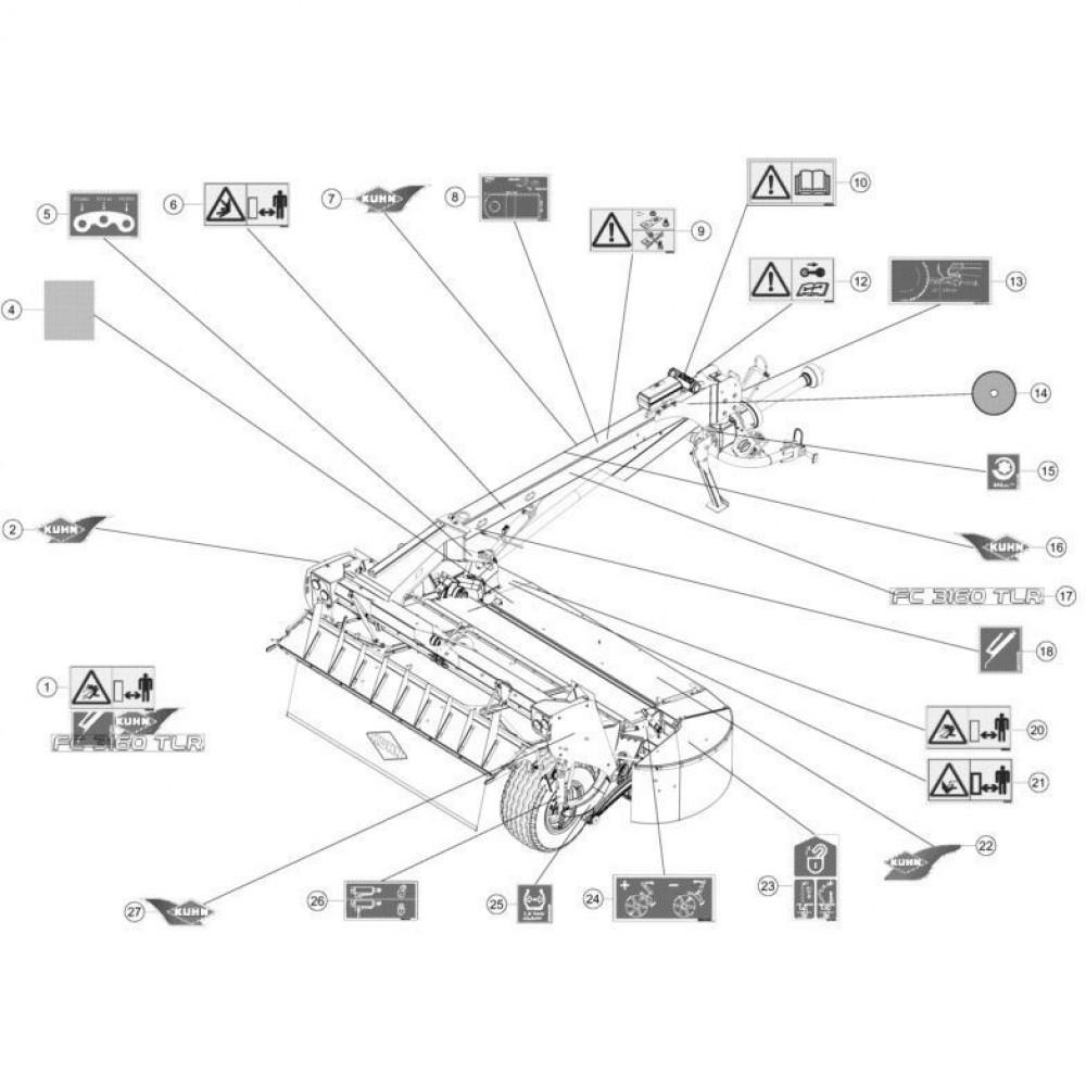 24 Set stickers passend voor KUHN FC3160TLR