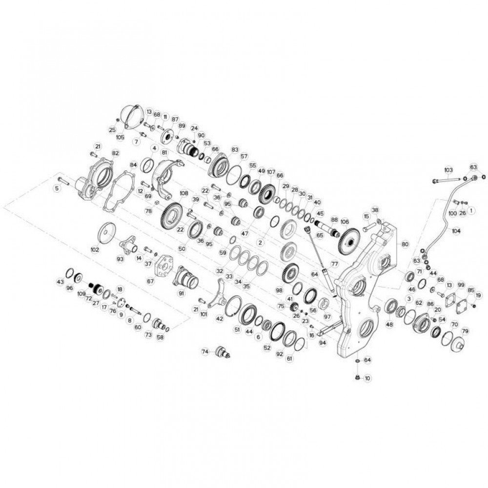 13 Tandwielkast, zijkant 3 passend voor KUHN FC3160TLS