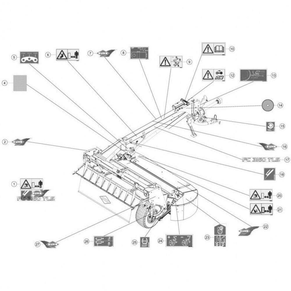 24 Set stickers passend voor KUHN FC3160TLS