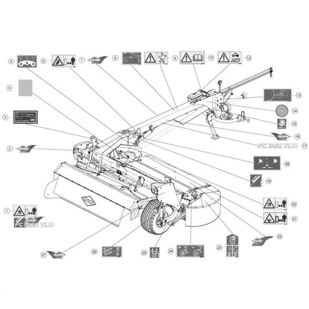 23 Set stickers passend voor KUHN FC3160TLV