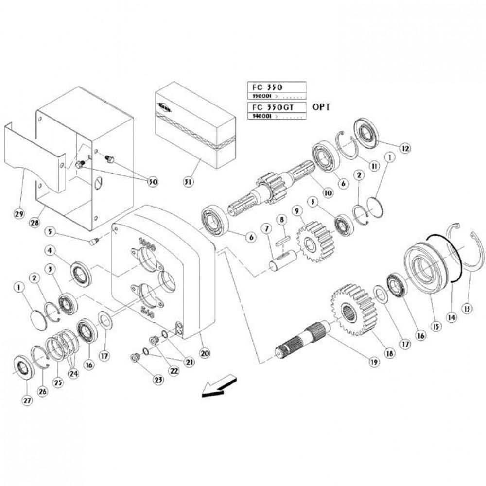 02 Dubbele tandwielkast passend voor KUHN FC350