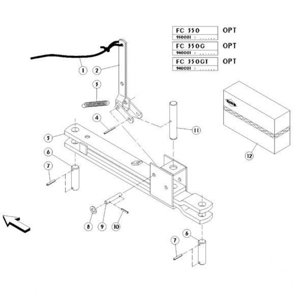 20 Mechanische vergrendelingsvoorziening passend voor KUHN FC350