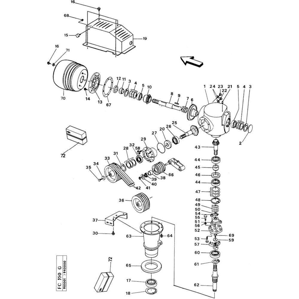 05 Haakse tandwielkast passend voor KUHN FC350G