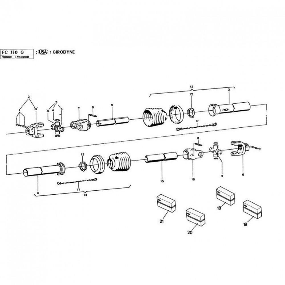 15 Hoofd-aftakas passend voor KUHN FC350G