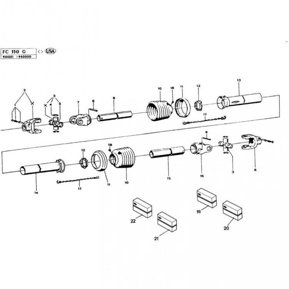 16 Hoofd-aftakas Gyrodine passend voor KUHN FC350G