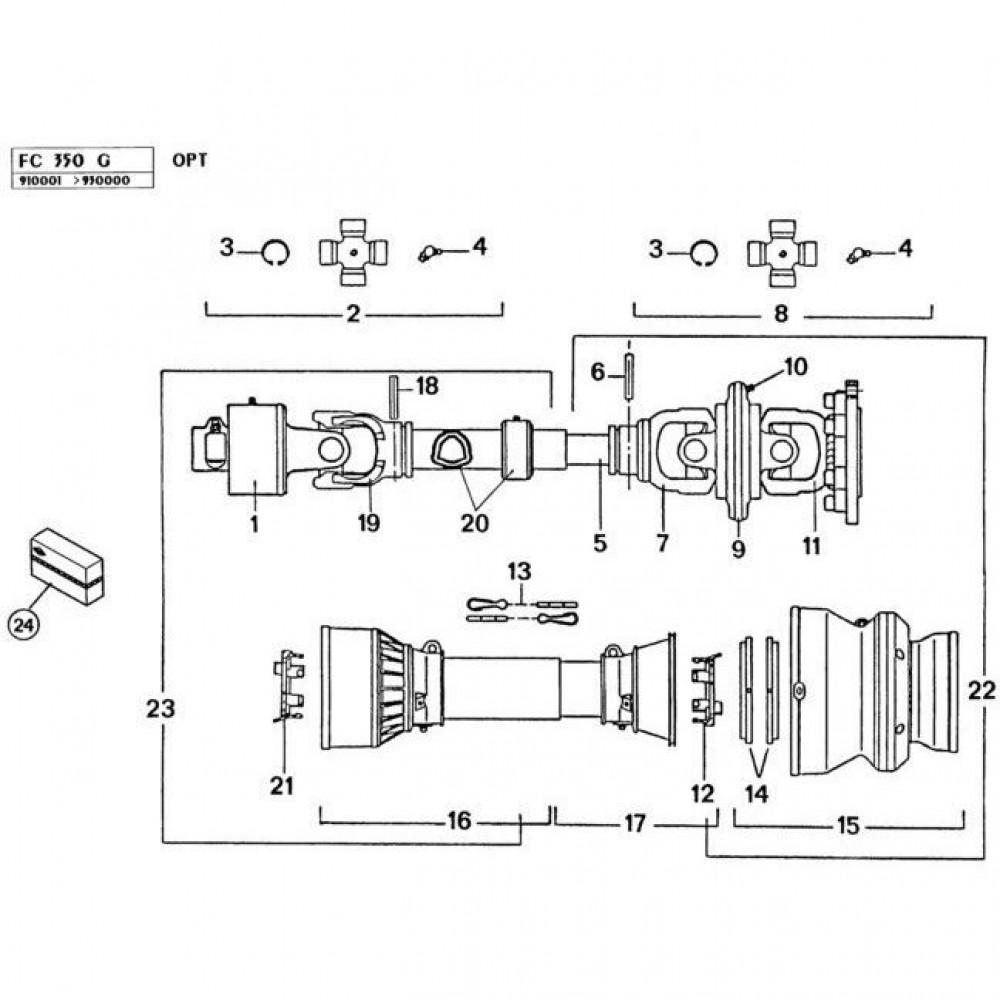 18 Tussen-aftakas passend voor KUHN FC350G