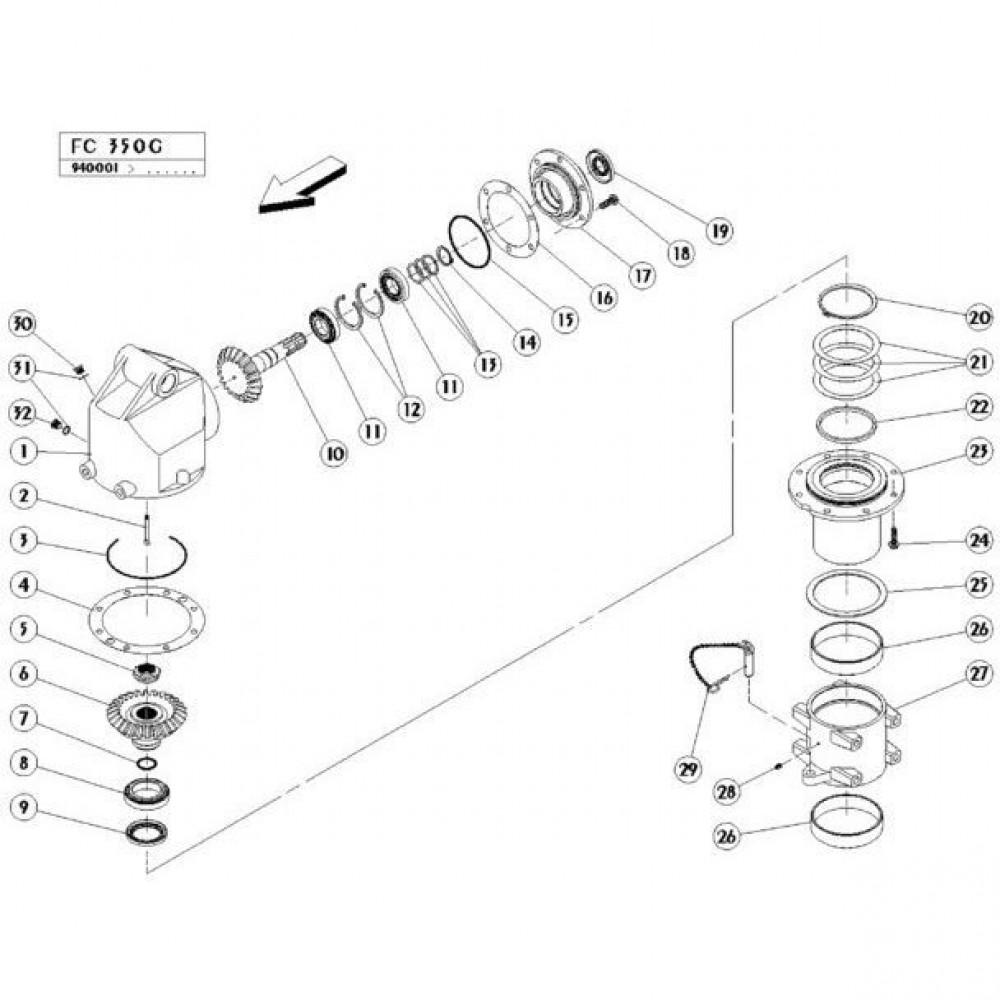 02 Gyrodine tandwielkast, boven passend voor KUHN FC350G