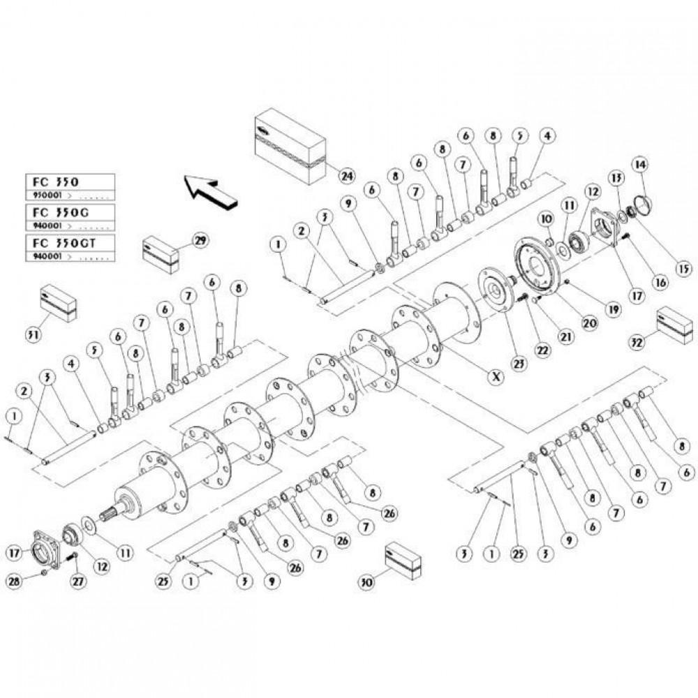 17 Vingerrotor passend voor KUHN FC350G