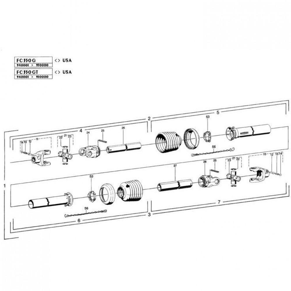 26 Hoofd-aftakas 1 passend voor KUHN FC350G