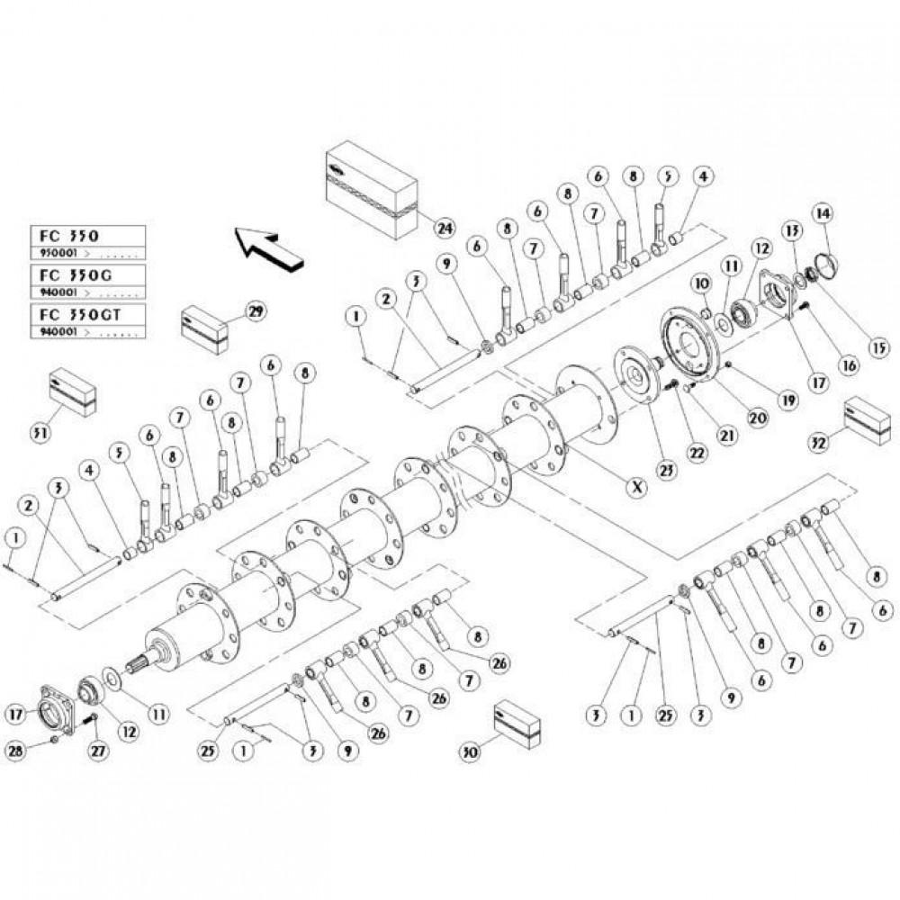 17 Vingerrotor passend voor KUHN FC350GT